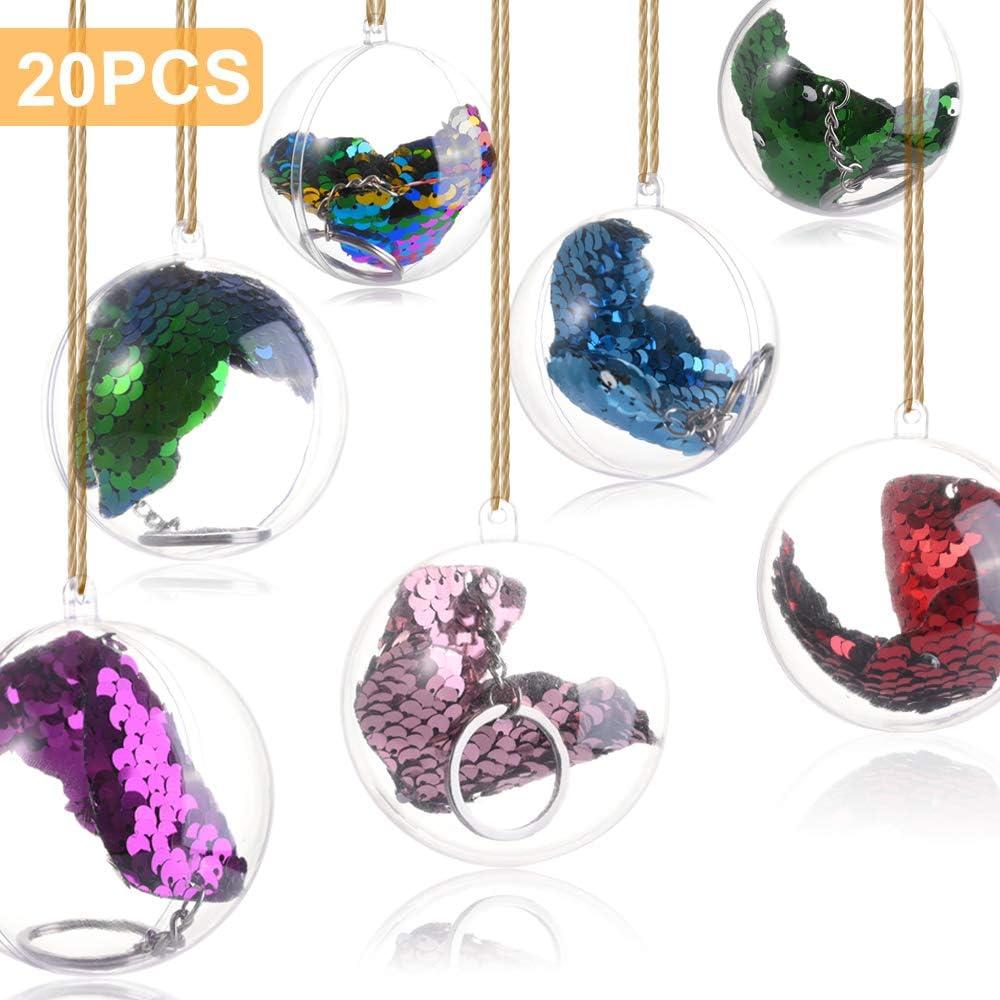 Bolas rellenables Bolas Transparente Mbuynow 20Pcs Bolas Transparentes para Adornos para /Árbol de Navidad Manualidades 5CM