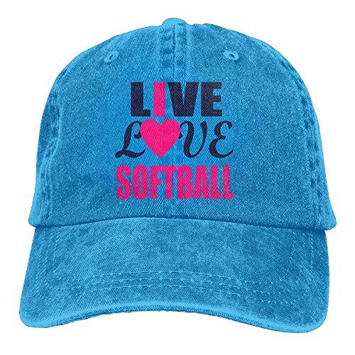 Adult Cowboy Cap Hat Live Love Softball Adjustable Cotton Denim Sunscreen Fishing Outdoors Retro Visor