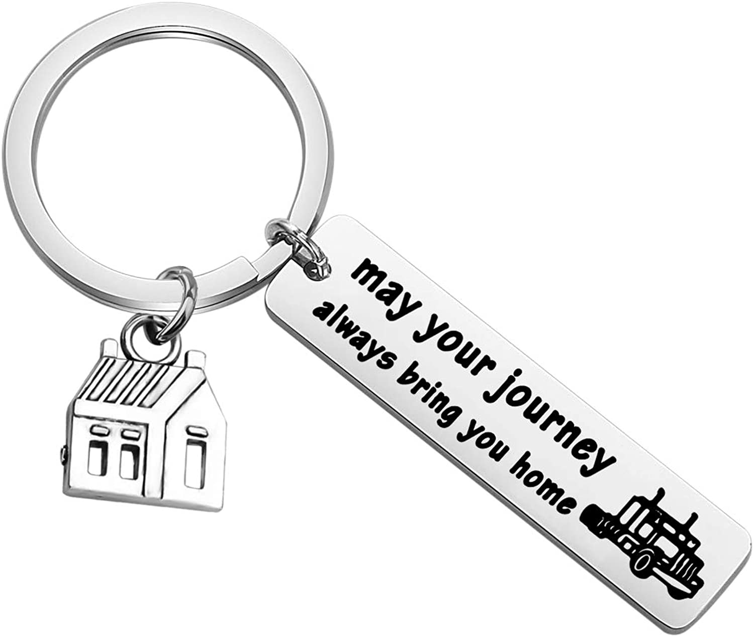 BAUNA Drive Safe Keychain Truck Gifts May Your Journey Always Bring You Home Keychain New Truck Driver Gifts for Men Son Husband Boyfriend Long Distance Gift