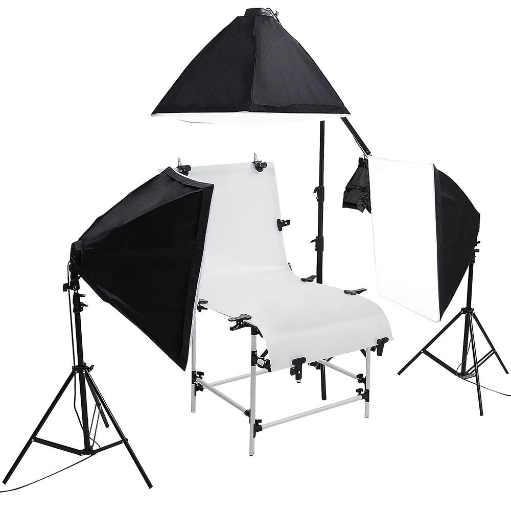 AW 51''x23'' Shooting Table 3x Softboxes 12x 45W Continuous Bulbs 2x 6.5Ft Lighting Stand Photo Studio Kit