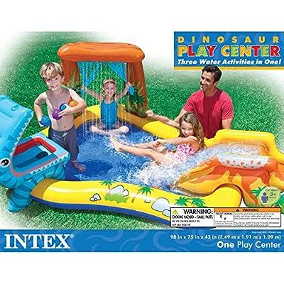 Intex 95in x 75in x 43in Dinosaur Play Center Kids Swimming Pool + Air Pump: Toys & Games