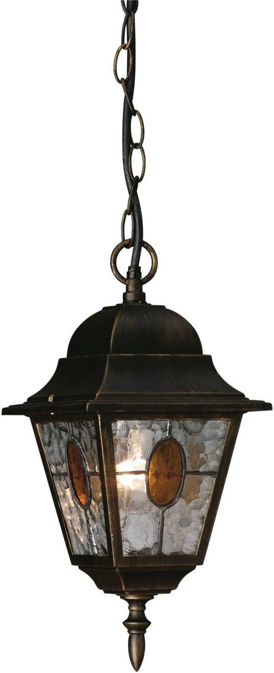 Massive München - Lámpara colgante, iluminación exterior, corriente alterna, E27, aluminio y vidrio, IP44, color negro