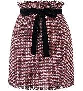 GRACE KARIN Women's High Waist Plaid Mini Skirt with Pockets Tie Waist Tweed Tassel Hem Side Zipp...