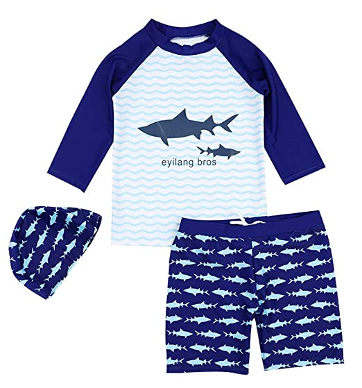 235423d4d4 Amazon.com: 3Piece Toddler Baby Boy Swimwear Sets, Rash Guard Shark Pattern  Swimsuit 1-9Y, Long Sleeve Bathing Suits Short Pant Hat: Clothing