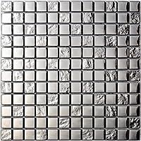 Mosaico de Vidrio en Malla DEC-47082626113 , Plata