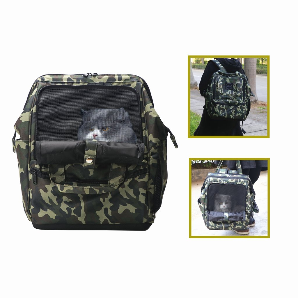 LUTAVOY Pet Backpack Camouflage Dog Carriers Backpacks Travel Camping Bag Dog Carrier Backpacks Gift to Friends (PB06)