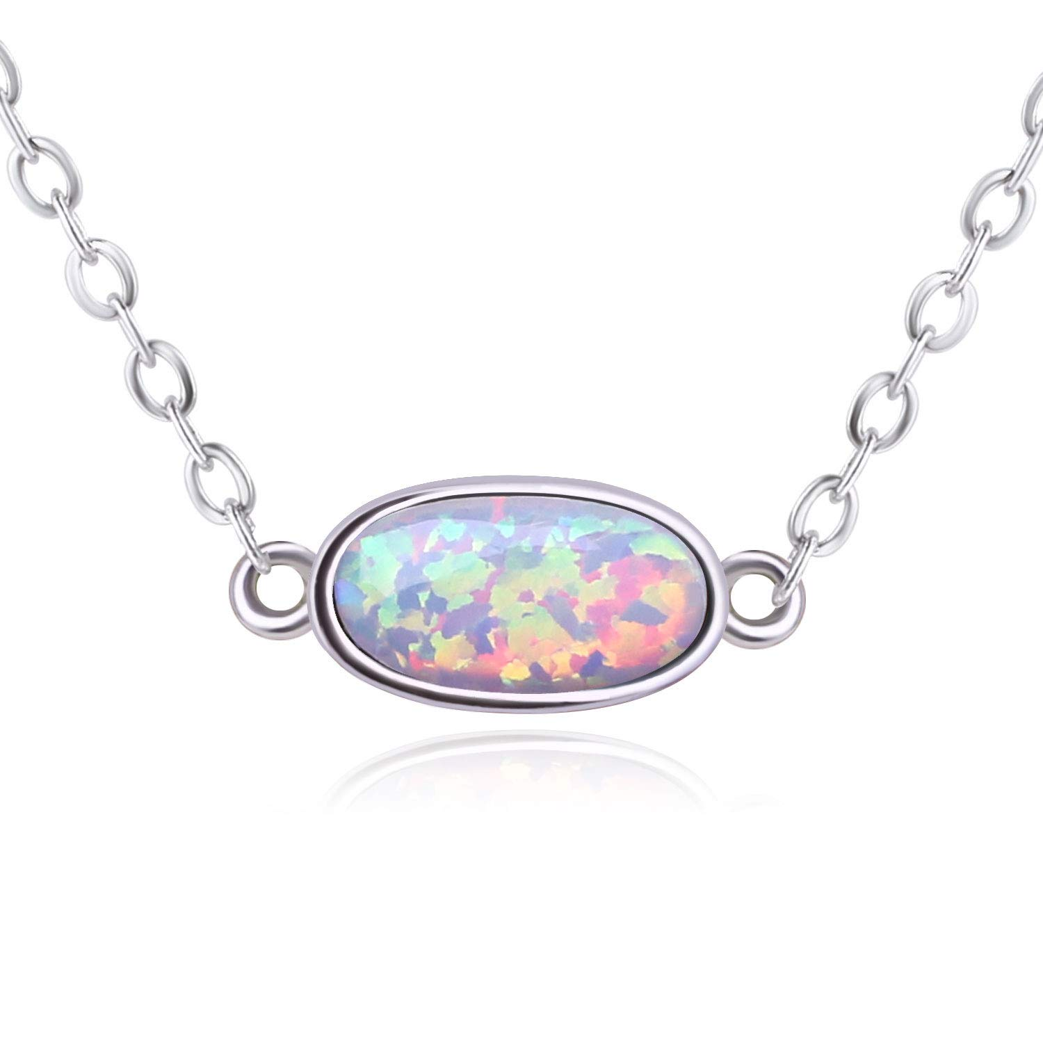 KELITCH Fashion Initial Choker Necklace Syuthetic Opal Oval Pendants Necklace (White B)