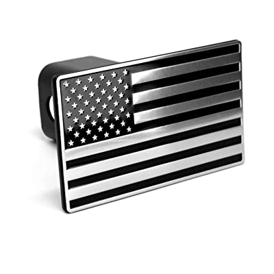 "LFPartS USA US American Flag Black & Chrome Metal Trailer Hitch Cover Fits 2"" Receivers: Automotive"