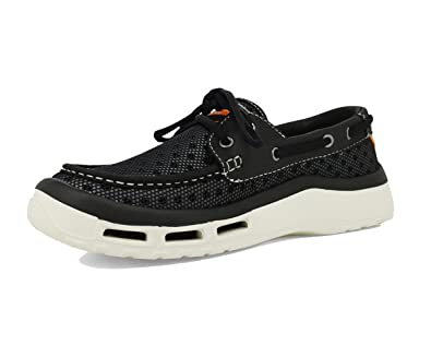 SoftScience Men's Fin 2.0 Boat Shoe Black 7