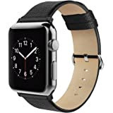Apple Watch Strap 42mm, Simpeak Genuine Leather Replacement Strap Band for Apple Watch 42mm Series 1/2/3 Version 2015 2016 2017 (Adaptors Included), Black