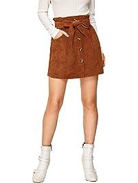 SweatyRocks Women's Button Front Belted Paperbag Waist A-Line Mini Corduroy Skirt