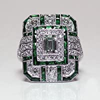 LALISA Art Deco Fashion Jewelry Silver Emerald Gemstone Wedding Band Ring Gifts (6)