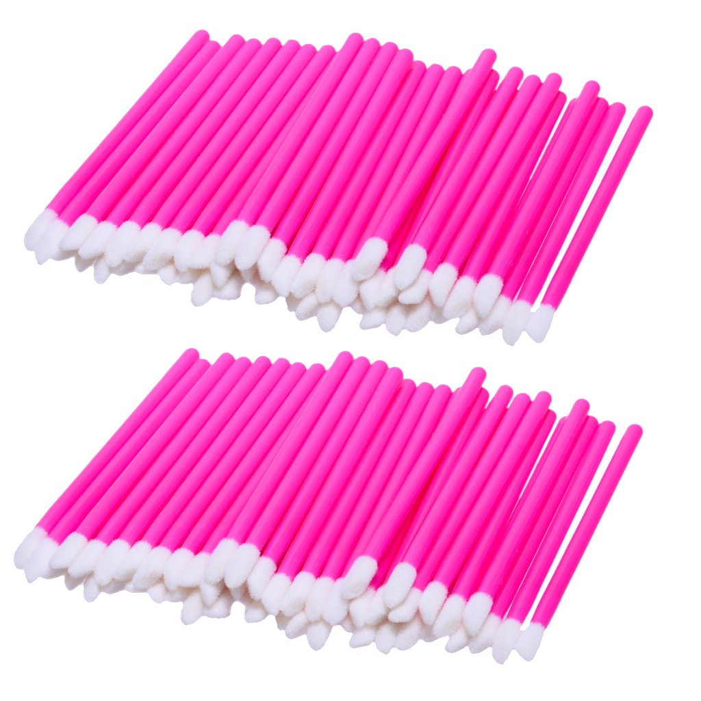 MagiDeal Lot of 100 Pieces Disposable Lip Gloss Brush Lipstick Wands Lipgloss Makeup Applicators Plastic Handle - Pink