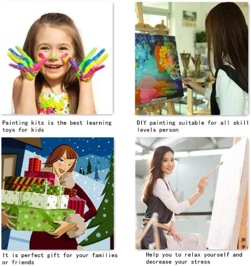 Wzxzf Pittura Ad Olio con I Numeri Citt/à di Mare DIY Fai da Te Quadri da Dipingere Numerati per Adulti Bambini Dipinti A Mano su Tela Pittura40X50Cm Senza Cornice