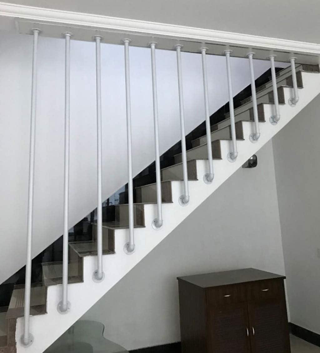 YUDE-L Barandilla de Escalera de Hierro Forjado Blanco, barandilla Redonda de Tubo galvanizado (envíenos Datos de tamaño Exactos después de la Compra)