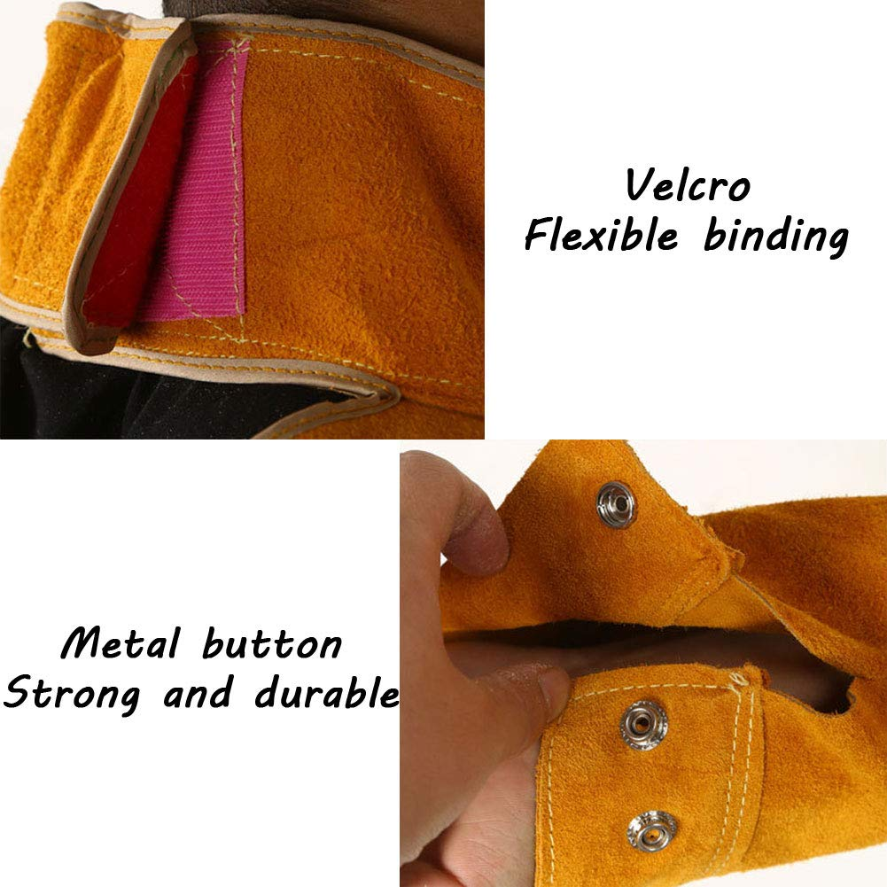 LAIABOR Welding bib Apron with Adjustment Split Leg Protective Foot Yellow Cowhide Leather Safety Apparel Flame wear Resistant Multi Purpose Workshop Long Suit for Welder,Brown,XXL by LAIABOR (Image #2)