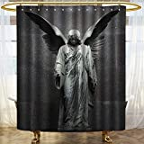 PRUNUSHOME Sculptures Decor Collection Sculpture of an Angel with Dark Background Catholic Belief Century Old Artwork Pattern Polyester Fabric Bathroom Shower Curtain Set with Hooks Dimgrey/W48 x L72