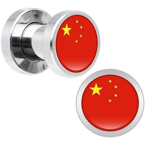 Cuerpo Caramelo Acero Inoxidable Bandera del China Dilatador Ajuste Rosca Par 4 Calibrador: Amazon.es: Joyería
