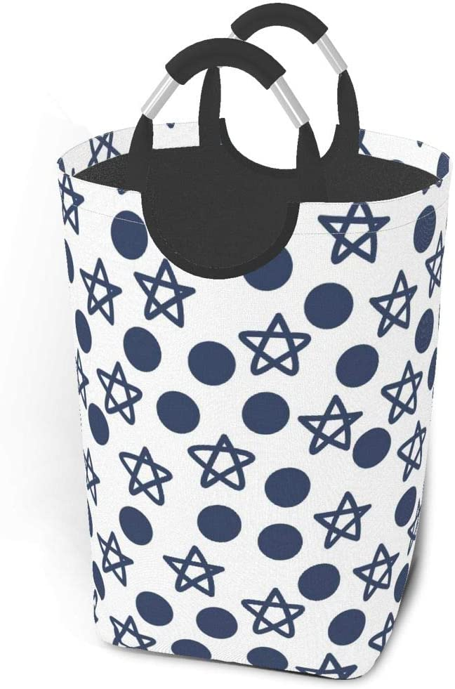 Collapsible Laundry Baskets,Dirty Laundry Hamper,Marvellous Navy Blue Stars Dots,Colapsable Laundry Basket With Metal Handles,Dorm Collaspable Laundry Basket Fabric For Camp Travel Kids Baby Girl Boy