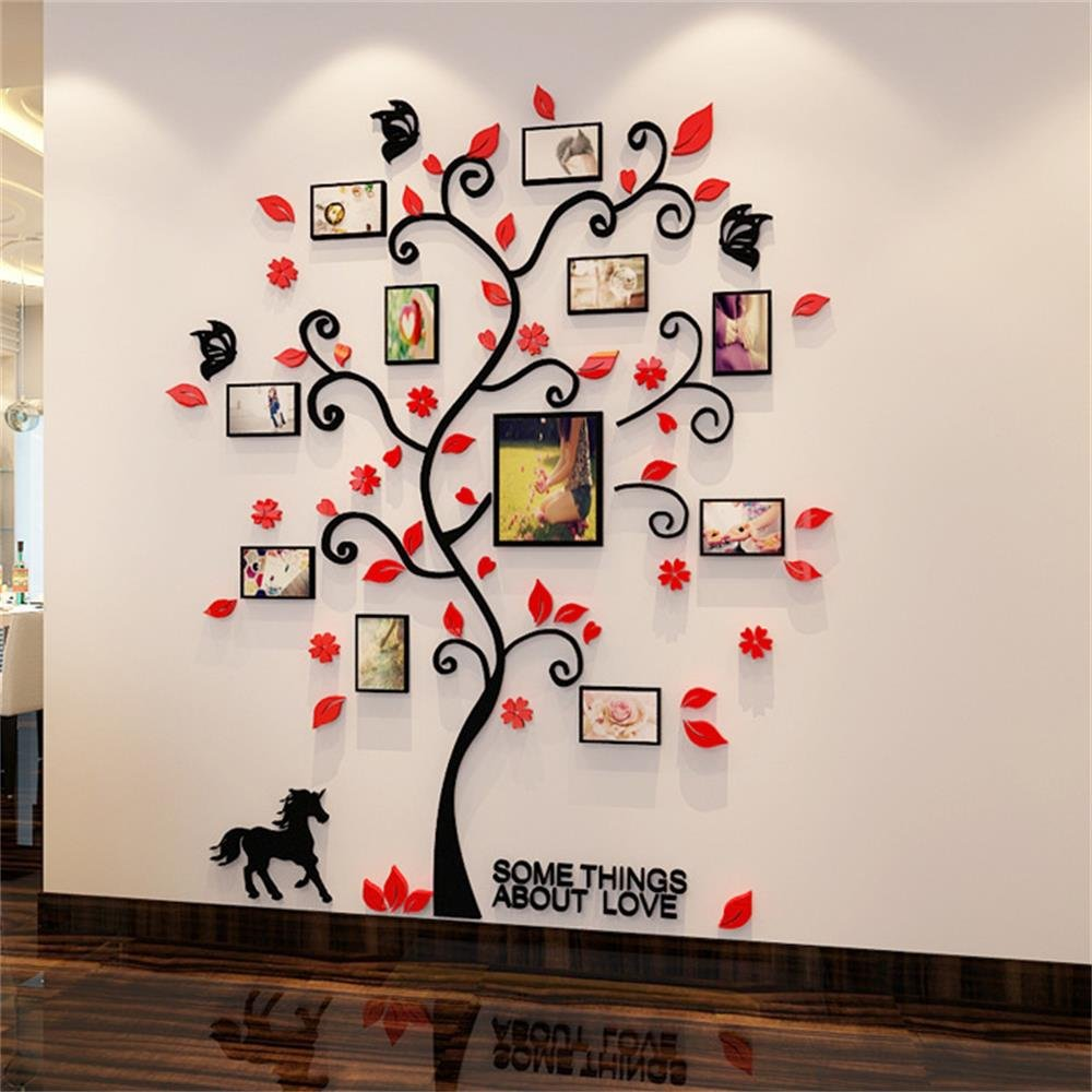 3D Picture Frames Family Hope Tree Wall Murals for Living Room Bedroom Sofa Backdrop Tv Wall Background,Removable Wall Art Sticker Home Decoration (Red)