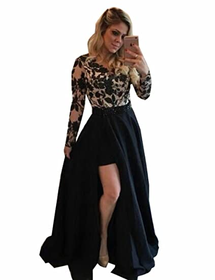 Marirobe Womens Long Sleeves Lace Appliques Evening Dress Beaded