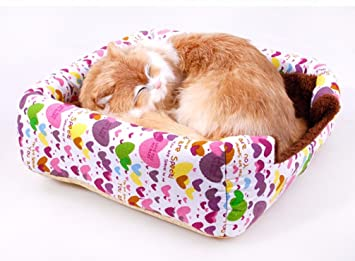 LA VIE Casa para Mascota Cueva Igloo para Perros con Cojín y Base Antideslizante Nido Cama de Gato Plegable Cómoda para Gatos Perros Pequeños L Corazón: ...
