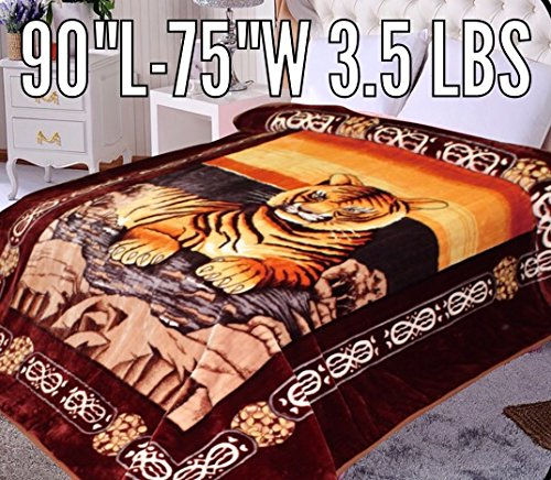 "Tiger Animal Blanket,90""Hx75""W, ultra plush blanket ,supersoft Korean Comfy, Safari Mink blanket, Year Round, Warm, Traveling, Camping ,Hiking,Tv, Sofa, Couch throw blanket, Bed blanket. by Hiyoko"