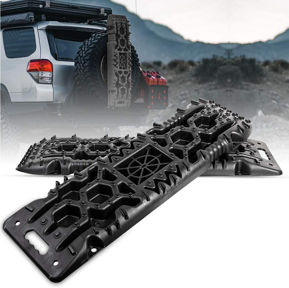 BIGTUR New Recovery Traction Tracks Boards with Jack Lift Base Sand Snow Mud Off-Road Tire Ladder 4WD 2Pcs, 4-Gen, Olive