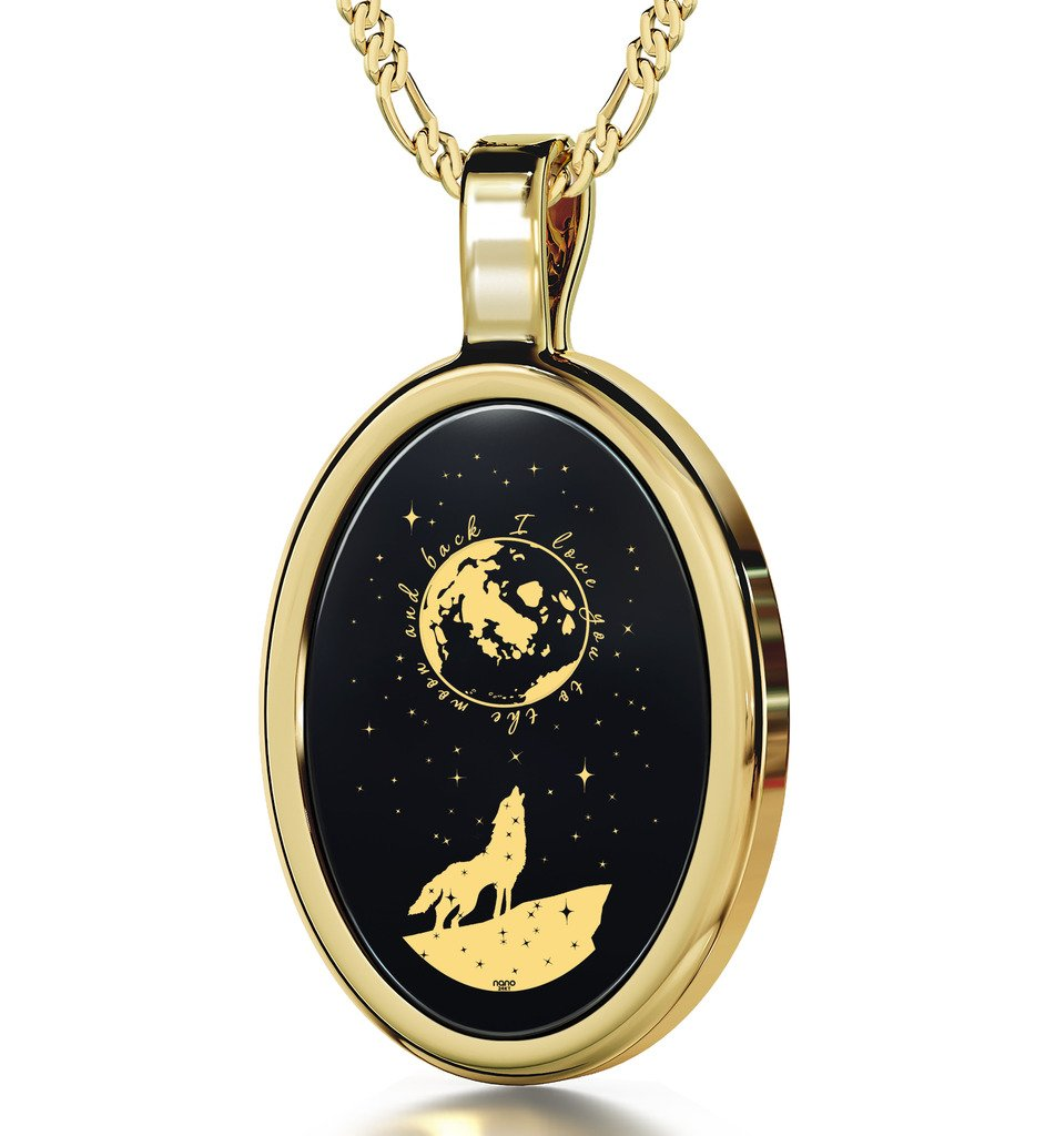 Gold Plated I Love You to the Moon and Back Necklace Wolf Pendant Gold Inscribed Onyx, 18'' Gold Filled