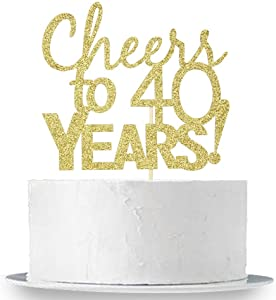 INNORU Cheers to 40 Years Cake Topper - Gold Glitter 40th Birthday ,Wedding Anniversary Cake Bunting Party Decoration