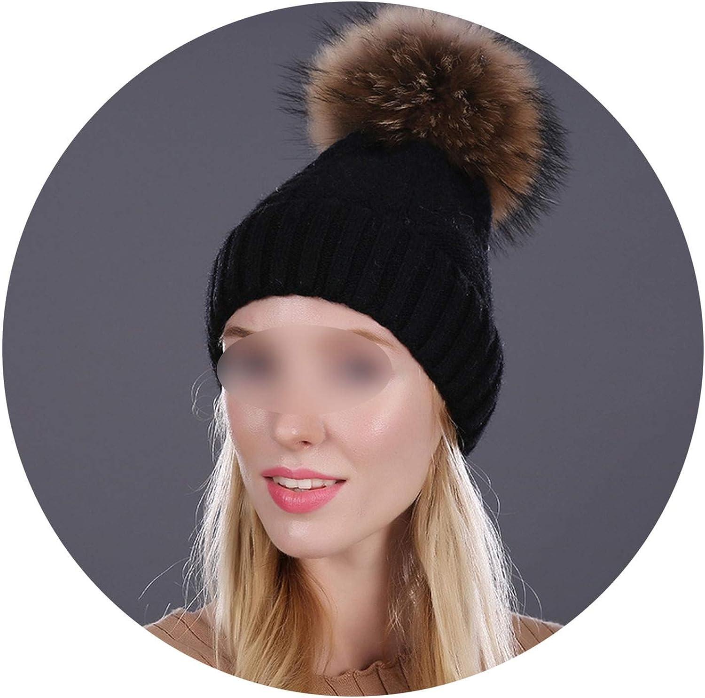 Caps100/% Real Mink Fur Pom Poms Hat Knitted Wool Hats Beaniethick Bonnet Female Cap