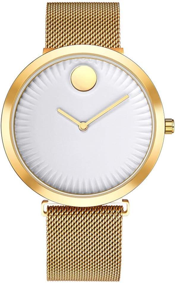 Yikuo Reloj para Hombre/Estilo De Moda Simple/Escala Ultrafina/Diseño Impermeable De 30M De Vida Delicado (Color : Gold)