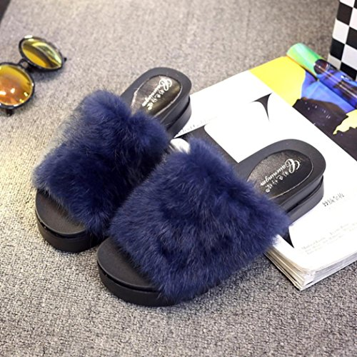Women Flat Slipper, Inkach Stylish Girls Fluffy Faux Fur Flip Flops Sandal Thick Bottom Sliders Shoes Blue
