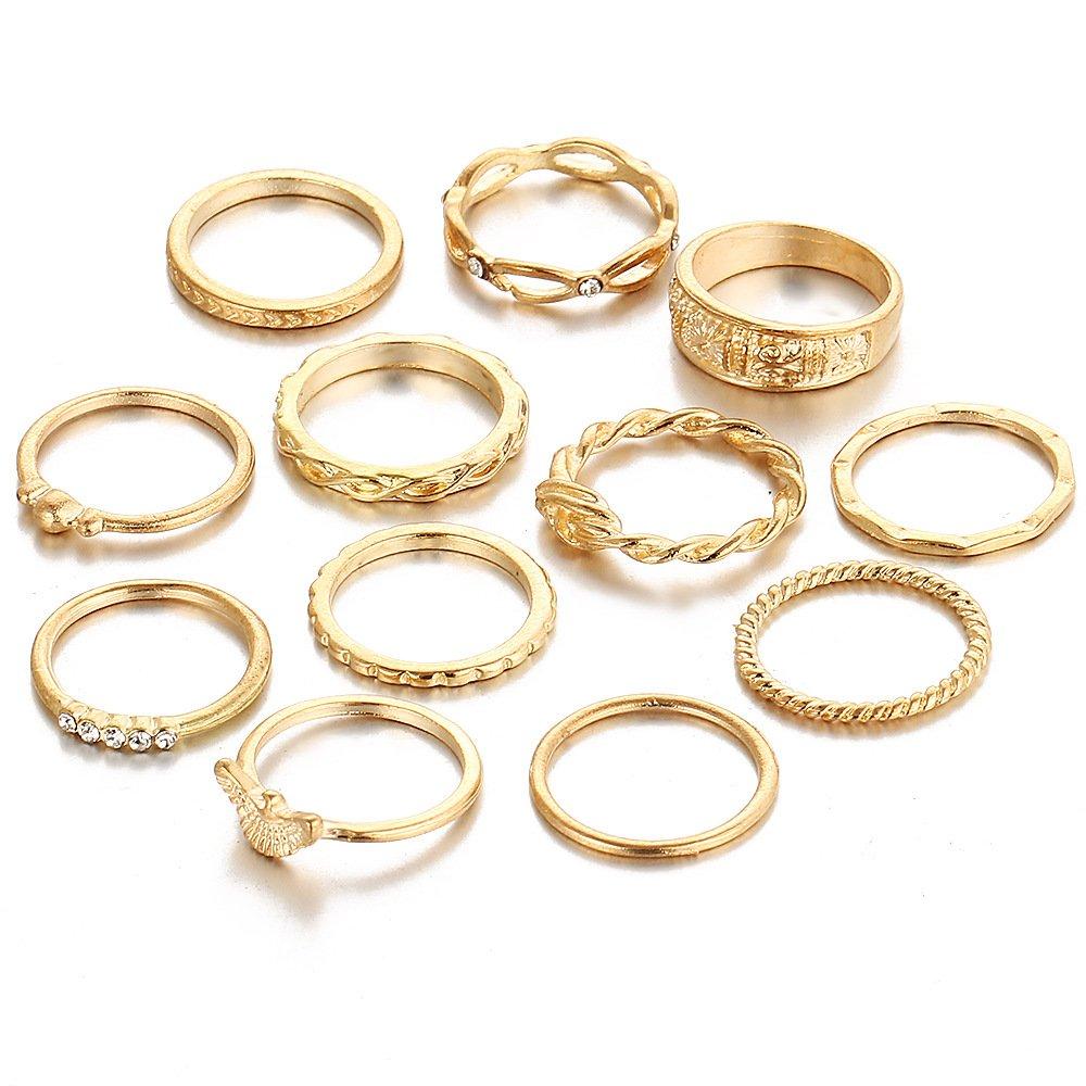 12PCS Bohemian Retro Stacking Ring Sets Knuckle Nail Ring/Finger Ring for Women Girls Girls LOVFASH CA02-1