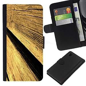 KingStore / Leather Etui en cuir / Sony Xperia Z1 L39 / Cerca de la pared de madera Arte Dise?o Arquitectura Materiales