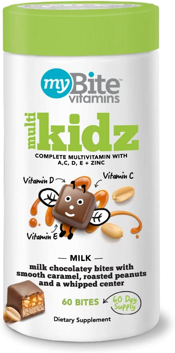 MyBite Kidz Multivitamin Chewables – Milk Chocolatey Peanut – 60ct