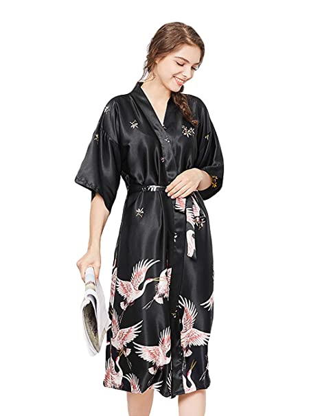 Clothing Dressing Gowns ZAPZEAL Ladies Silk Satin Dressing Gown Long Kimono Robe Size UK 8-18