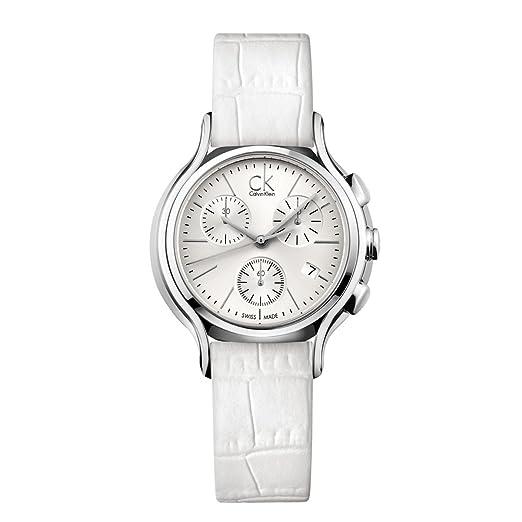 Calvin Klein Reloj Cronógrafo para Mujer de Cuarzo con Correa en Cuero K2U291L6: Amazon.es: Relojes