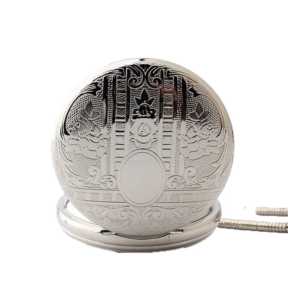 Zxcvlina Classic Smooth Mechanical Pocket Watch Boutique Silvery Retro Carved Unisex Pocket Watch with Chain for Gift Suitable for Gift Giving by Zxcvlina (Image #2)