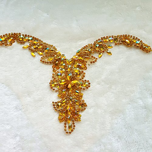 Handmade Beaded Sequin AB Color Bling Sew On Neckline Rhinestone Crystal Trim Bridal Applique Design Patch Sewing for Wedding Dresses DIY Decoration 20x34cm (Yellow)