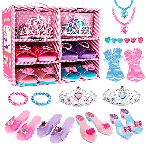 Meland Princess Dress Up Shoes and Jewelry Boutique – 4 Pairs of Play Shoes and Pretend Jewelry Toys Princess…