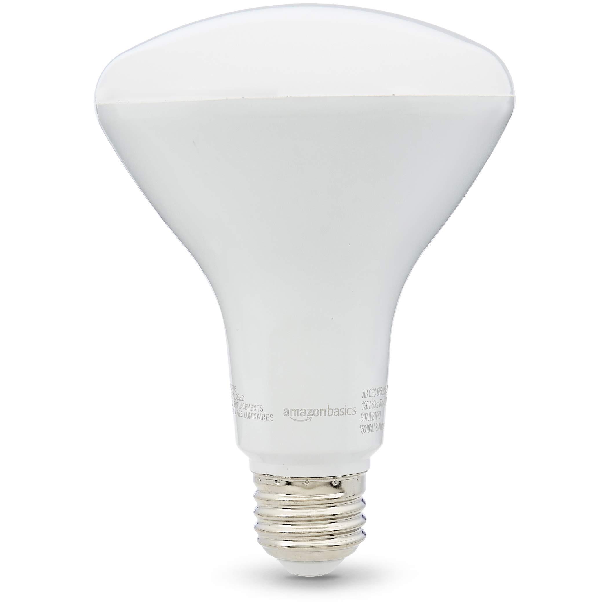 AmazonBasics 65 Watt 15,000 Hours Dimmable 810 Lumens LED BR30 CEC Light Bulb - Pack of 6, Soft White