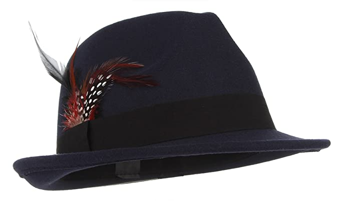 La vogue-Cappello Jazz Uomo in Feltro con Cintura Piuma Berretto Fedora  Trilby Autunno Blu Misura 59cm  Amazon.it  Abbigliamento 3ccd269ece78