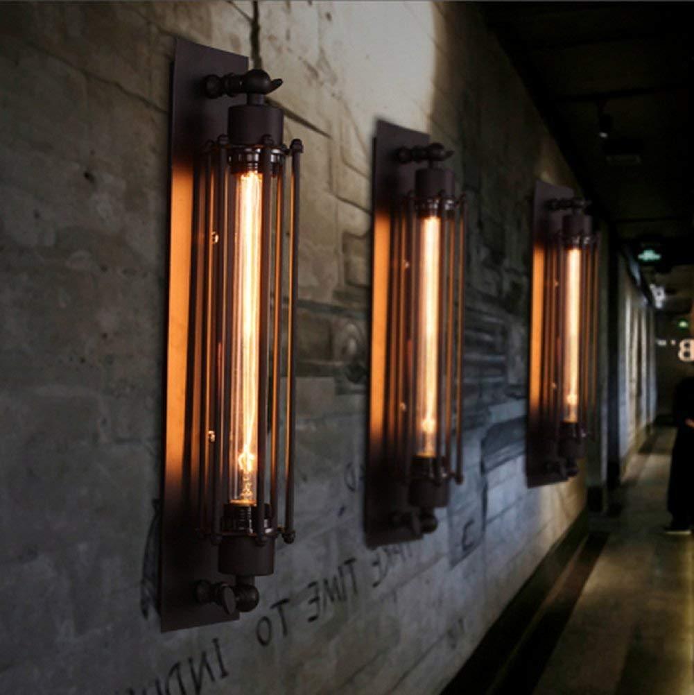 2 x Retro Wandleuchter Tube-Käfig Wandlampe Cafés Loft Beleuchtung