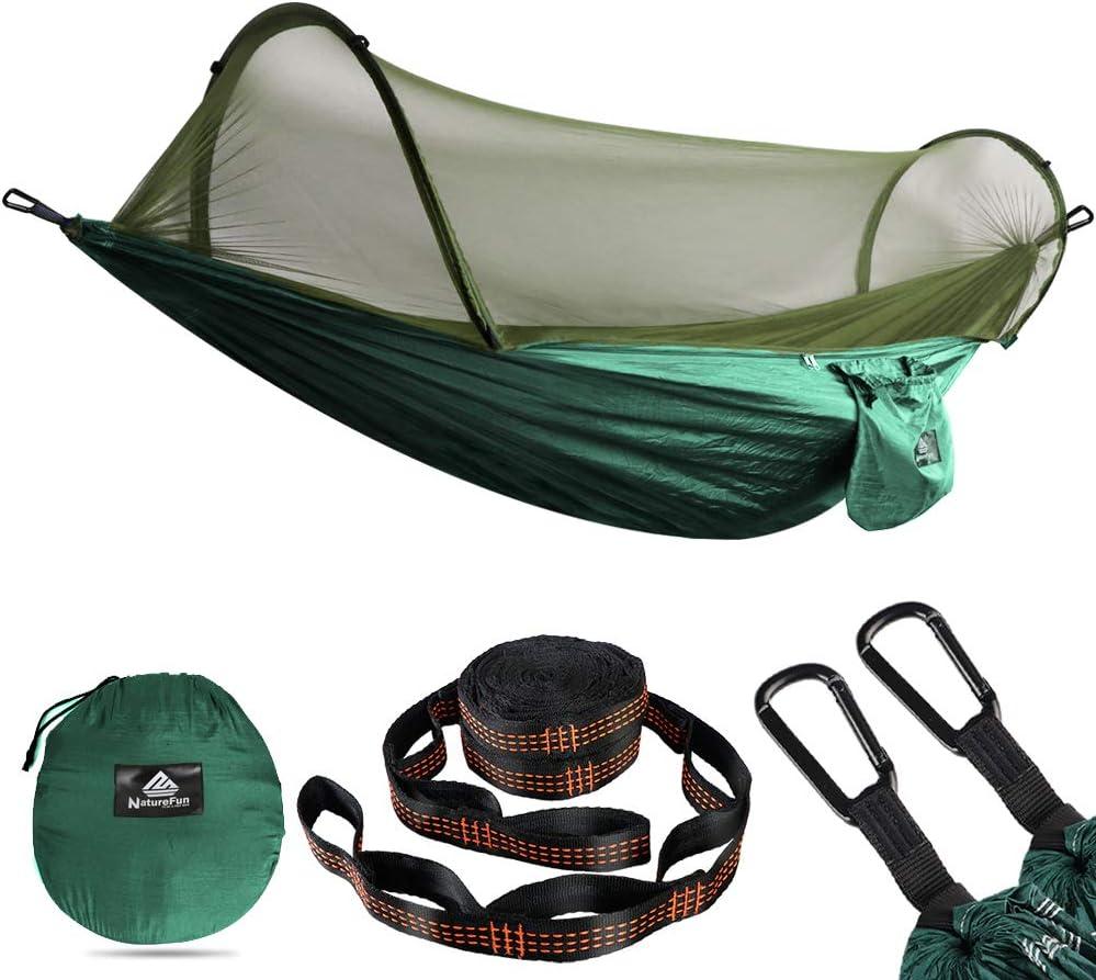 NATUREFUN Ultra Light Travel Camping Hammock Mosquito Net Hammock| 300kg Load Capacity,Breathable,Quick drying Parachute Nylon | 2 x Premium