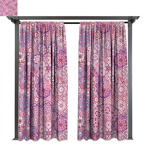 (Mauve, Exterior/Outside Curtains, Ethnic Orient Bohemian Paisley Pattern Eastern Culture Floral Folkloric Design, for Patio Light Block Heat Out Water Proof Drape (W120 x L96 Inches, Dried Rose Pink))