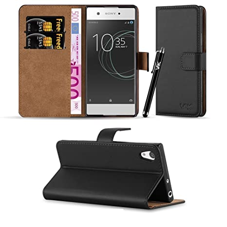 reputable site 5d0e1 3808c Sony Xperia XA1 Case, Leather Wallet Book Card Case Cover Pouch For Sony  Xperia XA1 + Screen Protector & Polishing Cloth + Touch Stylus Pen (Black)