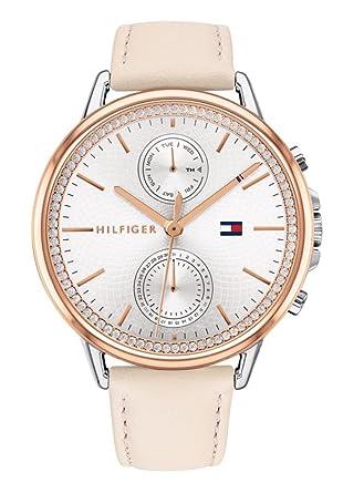 Tommy Hilfiger Reloj Multiesfera para Mujer de Cuarzo con Correa en Cuero 1781913: Amazon.es: Relojes