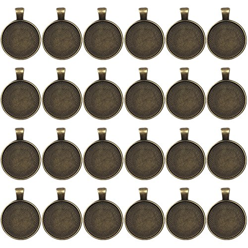 Dcatcher 24 PCS Bezel Pendant Trays Round Cabochon Settings Trays Pendant Blanks, 25mm Diameter, Antique Brass Colour