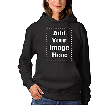 Women Custom Design Add Your Own Image and Text Printed Hoodie Personalized  Sweatshirt Black c761b744e